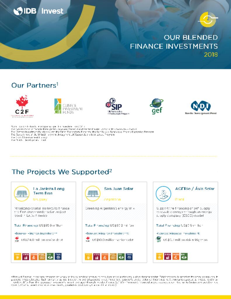 Factsheet: IDB Invest 2018 Blended Finance Investments