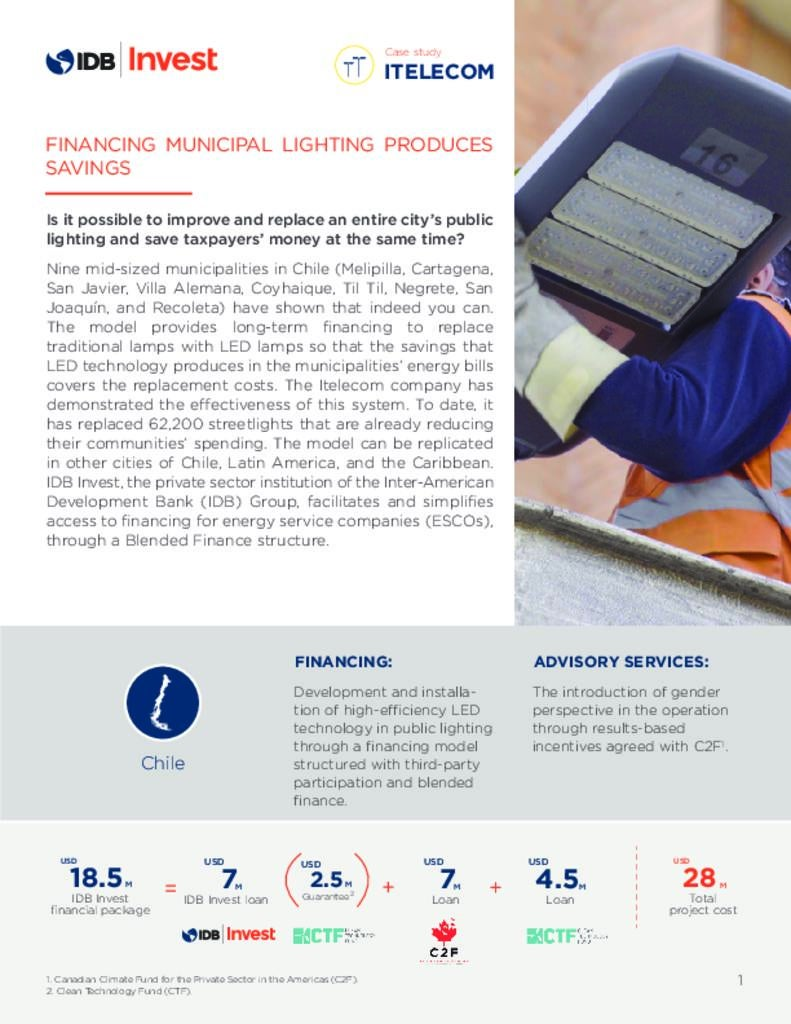 Case Study Itelecom: Financing municipal lighting produces savings (Chile)