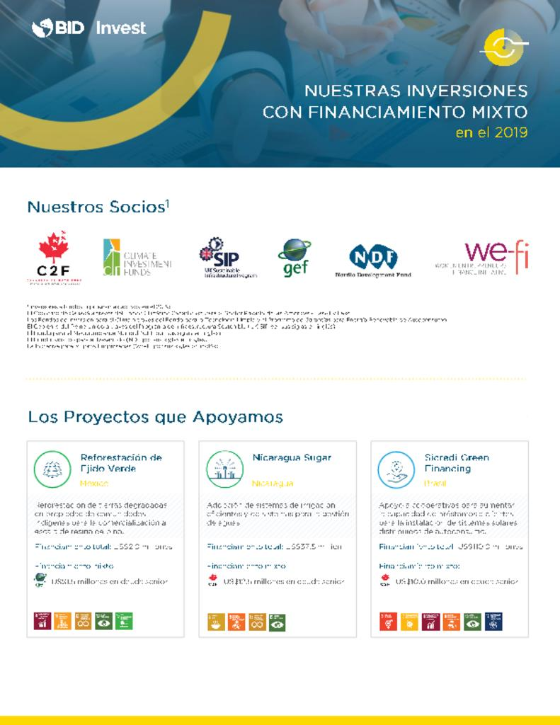 Factsheet: Inversiones de BID Invest en 2019 con Financiamiento Mixto
