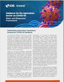 Guidance for the Agriculture Sector on COVID-19: Risks and Response Framework